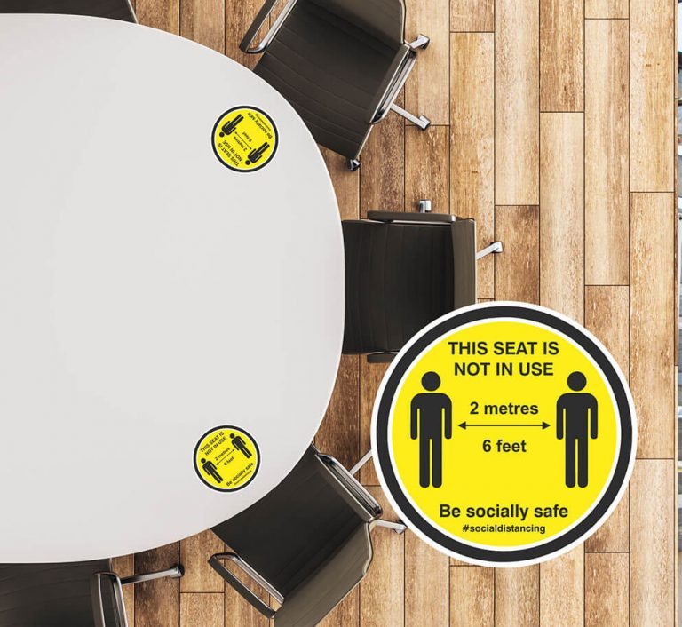 Social Distancing Table Stickers