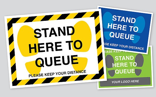 Queue Here Floor Stickers